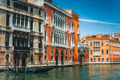 Old ancient facades of houses on Grand Canal, Venice, Italy. Vintage hotels and residential