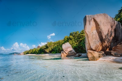 La Digue, Seychelles, Anse Source d'Argent, famous luxury travel vacation destination