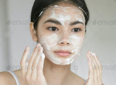 Soap face clean skin woman