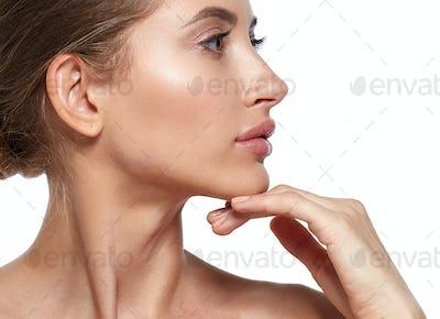 Woman beauty face skin care natural beautiful female portrait