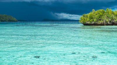 Beautiful Blue Lagoone shortly before Thunderstorm begining, Gam Island, West Papuan, Raja Ampat