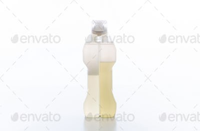 Cleaning carpets detergent container isolated against white background.
