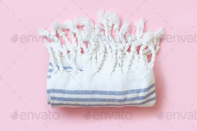 Eco friendly bamboo bath towel on pink background