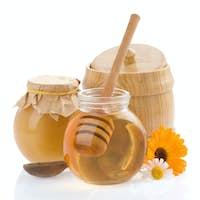 jar of honey and flowers