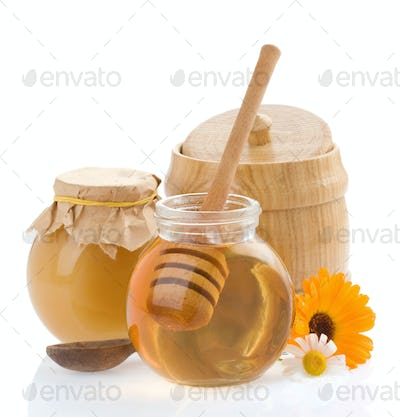 jar of honey and flowers