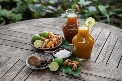 Herbal drinks beras kencur and kunir asam