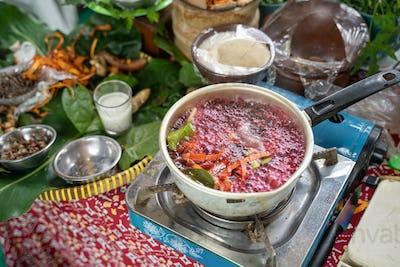 boil traditional herbal medicine wedang uwuh