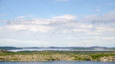 View at adriatic sea from Sibenik town, panorama