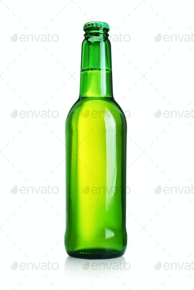 Beer bottle with without label isolated on white background.