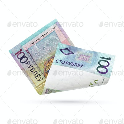 100 Belarusian rubles bill isolated.