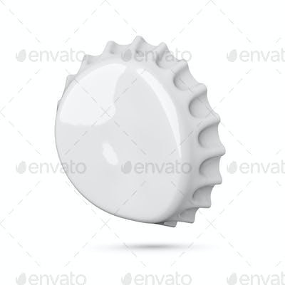 Empty bended gray soda or beer crown cap isolated on white background.