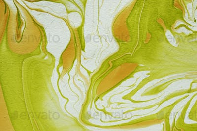 Abstract marbleized effect in green and gold