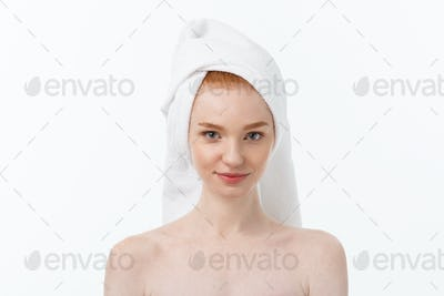 Surprised Beautiful Young Woman After Bath with A Towel On Her Head Isolated On white Background