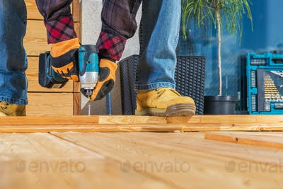 Building Wooden Porch Attaching Wood Planks Elements