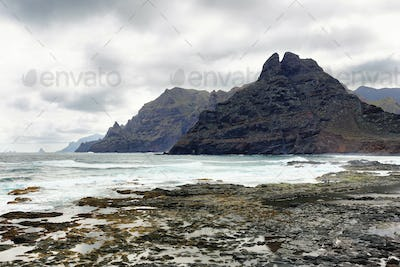 Anaga Mountains growing directly from the oceans at Punta del Hidalgo in Tenerife