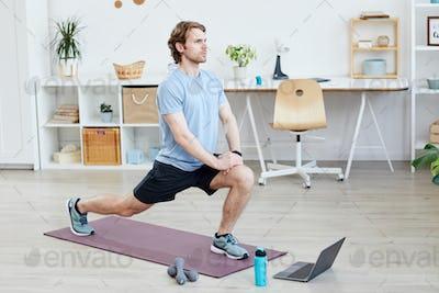 Man training at home