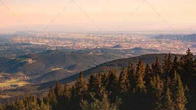View from Shockl mountain in Graz. Tourist spot in Graz