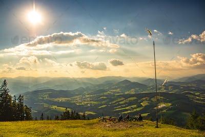 View from Shockl mountain in Graz. Tourist spot in Graz