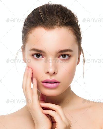 Fashion natural makeup woman long hair clean skin beauty portrait.