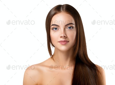 Beautiful long hair brunette woman with beauty hairstyle female model. Studio shot. Isolated white.