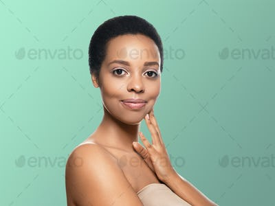 Black skin beauty woman healthy hair skin close afro american beautiful model. On blue. With hands.