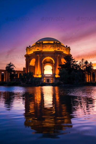 The Palace of Fine Arts at Sunset in San Francisco, California