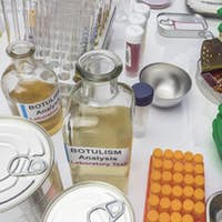 Experienced laboratory scientist analyzing a sample from a canned food can