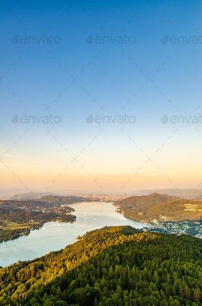Lake and mountains at Worthersee Karnten Austria tourist spot