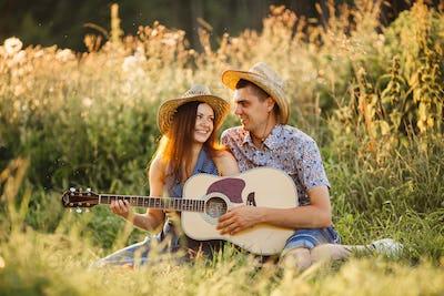 Portrait of couple of girlfriend and boyfriend in hats