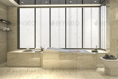3d rendering modern classic bathroom with luxury tile decor with nice view from window
