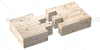 Wooden box joint jig, dovetail connection concept.