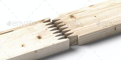 Finger joint wood connection concept. Floorboard closeup. 3d illustration