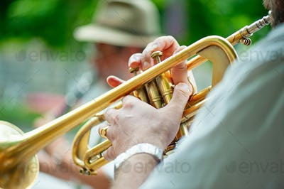 Trumpet player performs
