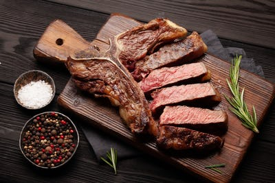 T-bone grilled beef steak