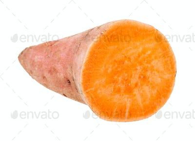 sliced tuber of sweet potato (batata) isolated