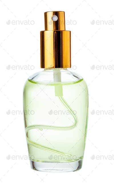 spray glass bottle with perfume isolated on white