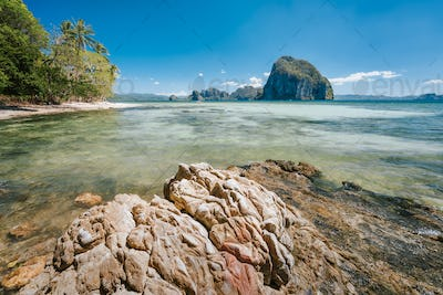 Rocky coastline of El Nido place on Palawan island, Philippines