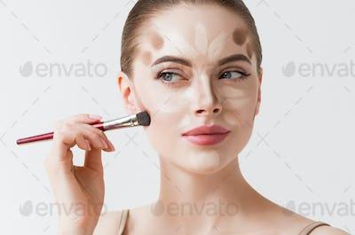 Closeup woman face. Contour Highlight makeup sample. Professional Contouring face white background