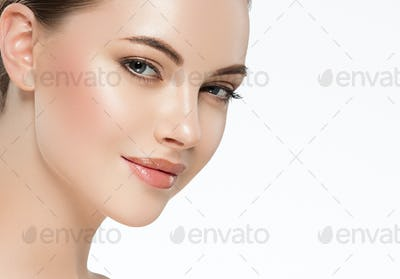 Beauty woman face clean healthy skin natural make up isolated on white