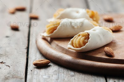 Sardinian traditional cookie on the wooden table