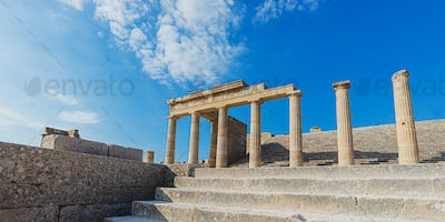 Ancient magnificent Greek pillars of the Lindos acropolis