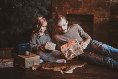 Concept of Christmas season - father and daughter