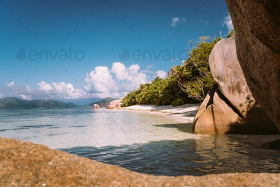 La Digue, Seychelles, Anse Source d'Argent beach in morning warm light. World known famous
