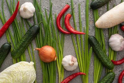 Chili Peppers, Onion, Cucumbers, Garlic,chinese Cabbage And Green Onions on Grey Concrete Background