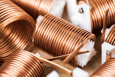 Close-up a lot of twisted flat copper wires