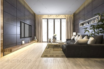 3d rendering luxury and modern living room