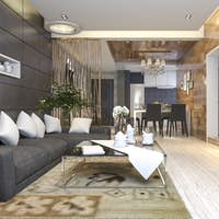 3d rendering luxury and modern living room and dining room