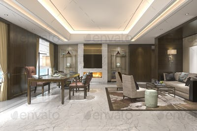 3d rendering chinese classic living room with leather sofa