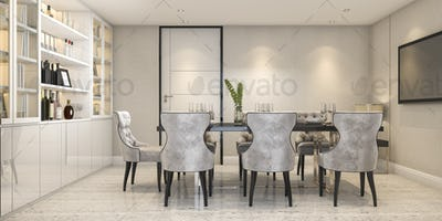 3d rendering dining set in modern luxury dining room near door