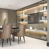 3d rendering dining set in modern luxury brown dining room